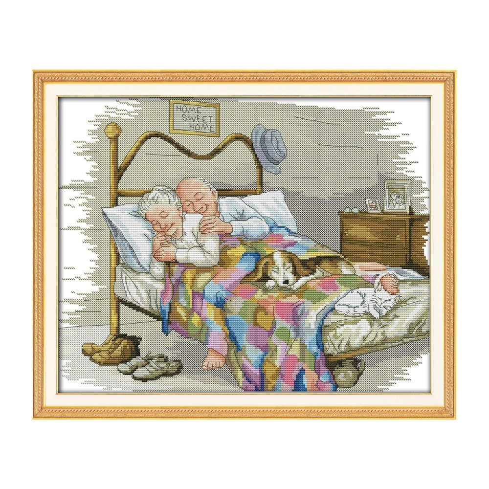 Decdeal 17.3 * 14 inches The Old Married Couple Pattern Cross Stitch Kit with Pre-printed 14CT Canvas Cloth & Cotton Thread Embroidery Cross-Stitching Needlework Home Wall Decor