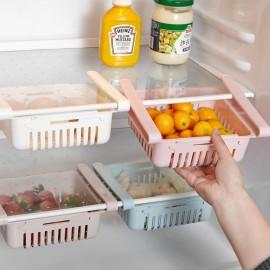Kitchen PP Storage Box Food Fruit Container  Organizer Rack Pull-out Drawer Stretch Refrigerator Storage Basket White