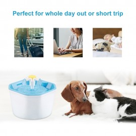 1.6L Automatic Pet Water Fountain Silent Drinking Electric Water Dispenser Feeder Bowl for Cats Dogs Multiple Pets with 1 Mat