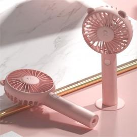 Handheld Mini Fan USB Rechargeable Adjustable Wind Speed Cute Bear Cartoon Desktop Cooling Fan With Stand