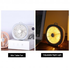 Mini USB Table Fan with Rotating Cover Mask 3 Speeds 180° Wind Direction and Adjustable Night Light Desktop Fan for Office Home