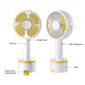 Handheld Mini Fan Portable Fan Cooler Silent Desktop Fan with Detachable Base Phone Holder Adjustable 3 Speed for Office Outdoor Travel